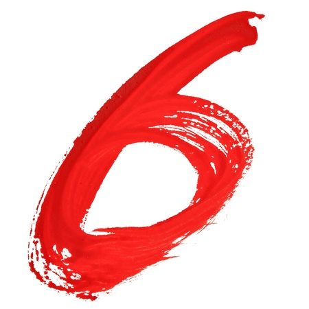 educaton: Six - Red handwritten numerals over white background