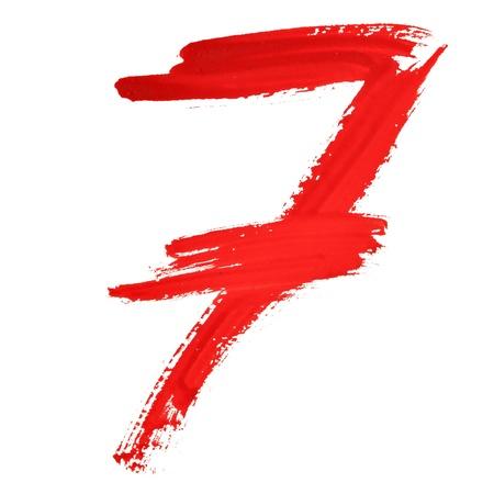 italics: Seven - Red handwritten numerals over white background