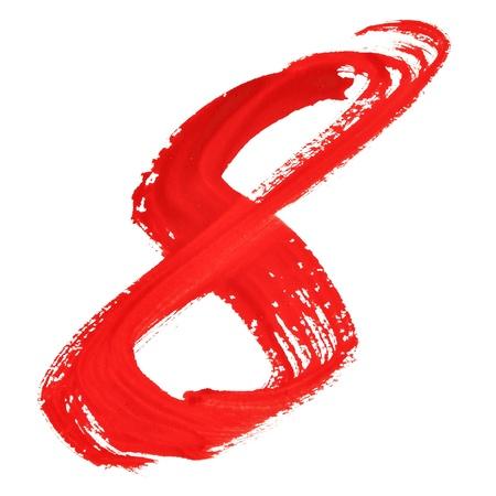 fount: Eight - Red handwritten numerals over white background
