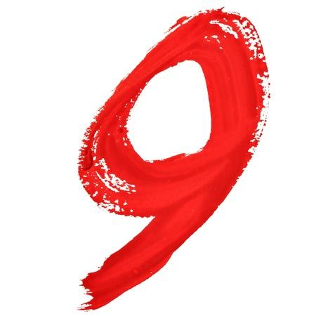 fount: Nine - Red handwritten numerals over white background