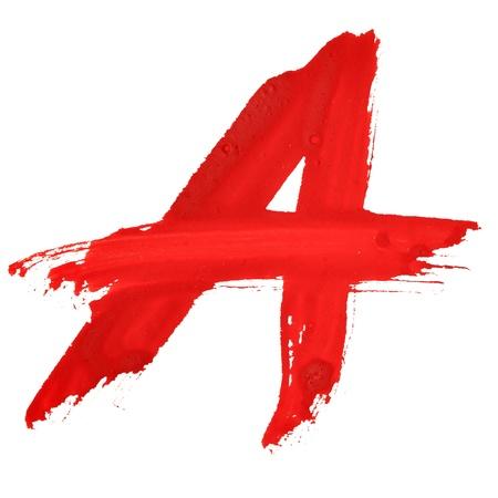 A - Red handgeschriebene Briefe auf weißem Hintergrund Lizenzfreie Bilder