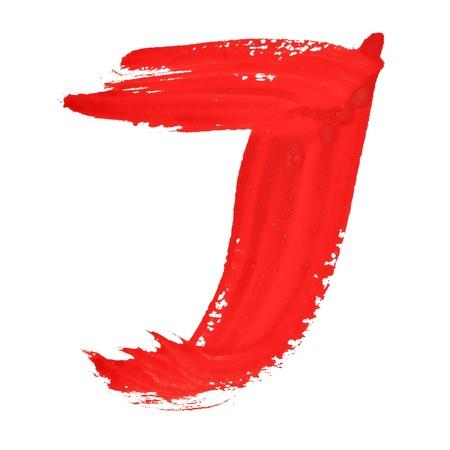 educaton: J - Red handwritten letters over white background