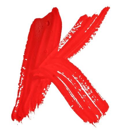 educaton: K - Red handwritten letters over white background