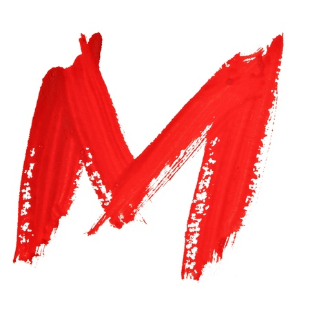 educaton: M - Red handwritten letters over white background