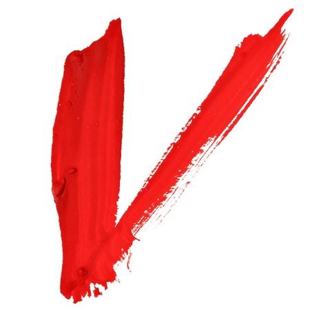 letter v: V - Red handwritten letters over white background Stock Photo