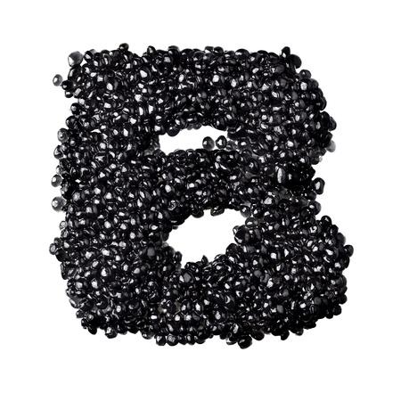 fount: B - Alphabet made from black caviar Stock Photo