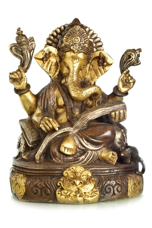 god figure: Hindu God Ganesha isolated over the white background