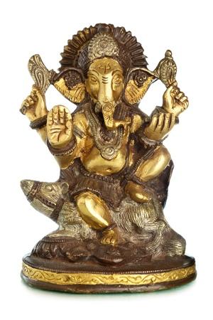 worshipping: Hindu God Ganesh isolated over the white background