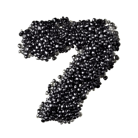 fount: Seven - Numbers made from black caviar Stock Photo