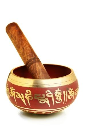 musicoterapia: Tibetano canto ciotola isolato su sfondo bianco
