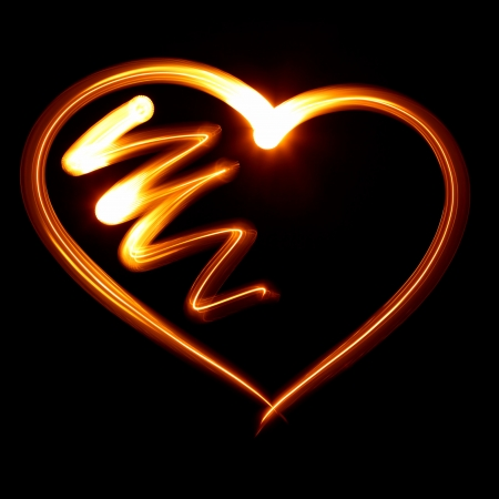 Heart symbol created by light photo