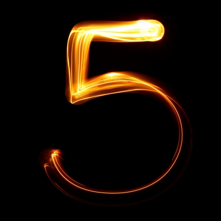 fire font: Five - Pictured by light numbers Stock Photo
