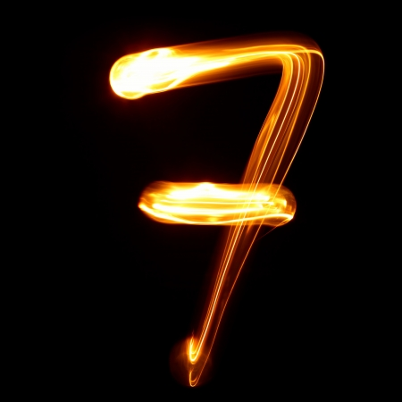 educaton: Seven - Pictured by light numbers Stock Photo