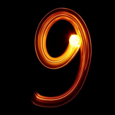 9 - 光番号によって描かれる 写真素材