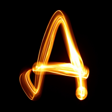 torch light: A- Pictured by light letters