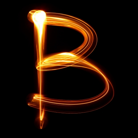 letter b: B - Pictured by light letters