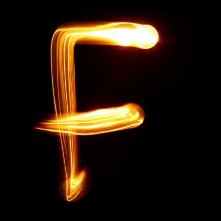 F - Pictured by light letters photo