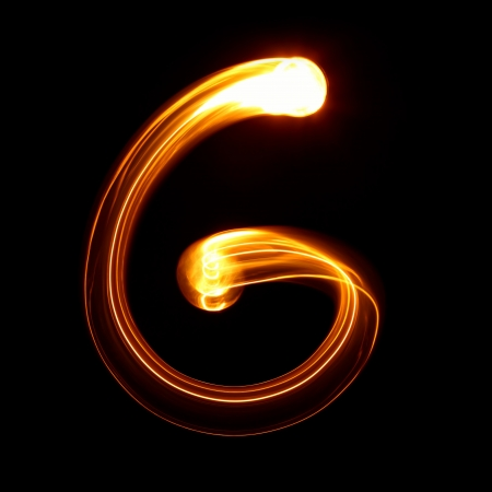 flame alphabet: G - Pictured by light letters