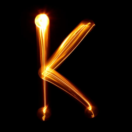 letter k: K -  Pictured by light letters