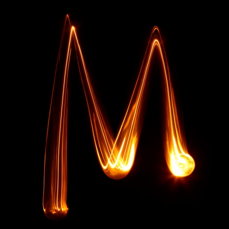 flame letters: M - Pictured by light letters