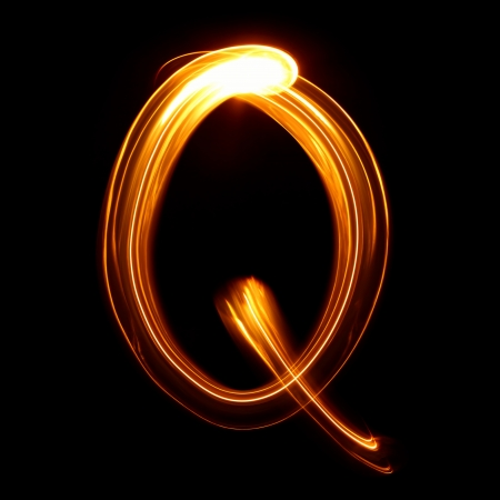 Q - Pictured by light letters Stock Photo - 18246008
