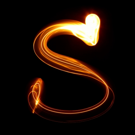 S - Pictured by light letters photo