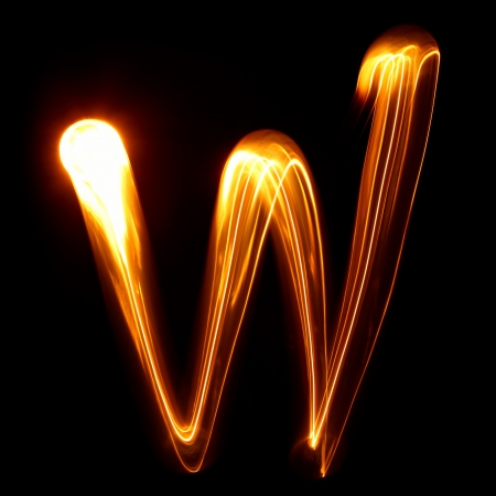 W - Pictured by light letters