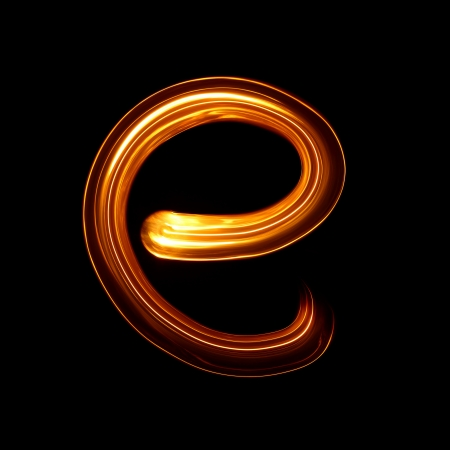 E - Created by light lowercase letters