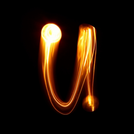 U - Created by light lowercase letters