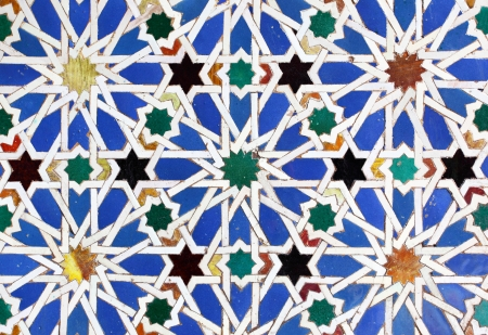 Moorish ceramic tiles in the Real Alcazar, Seville photo