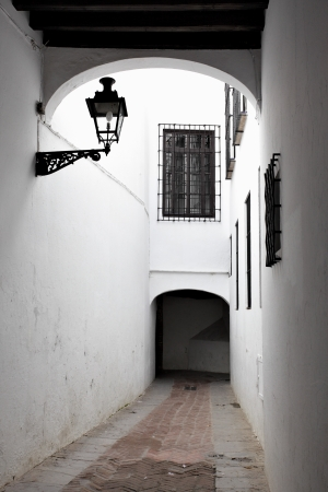 Old narrow street in Seville photo