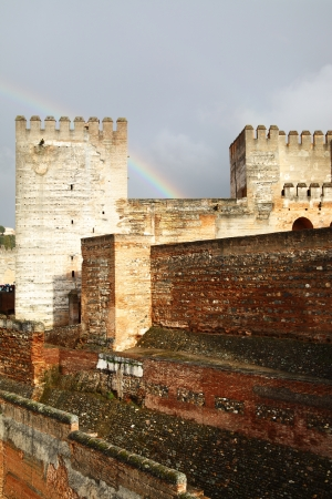 Towers of Alhambra and rainbow, Granada, Spain photo