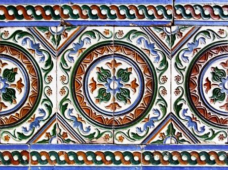 Moorish ceramic tiles in the Real Alcazar, Seville