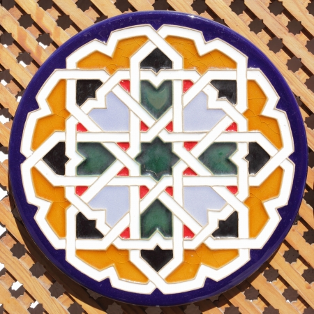 moresque: Typical ceramic andalusian plate with arabic pattern