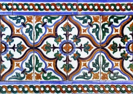 Moorish Ceramic Tiles In The Real Alcazar Seville Stock Photo