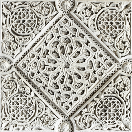 alhambra: Old moorish stone carving close-up, Seville Stock Photo