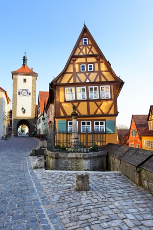 half timbered: Old street in Rothenburg ob der Tauber, Bavaria, Germany Stock Photo