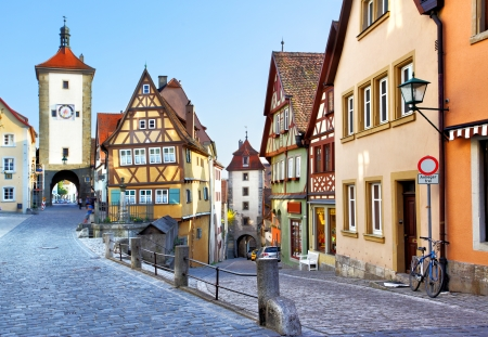 Old street in Rothenburg ob der Tauber, Bavaria, Germany Stock Photo