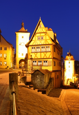 Rothenburg ob der Tauber at night, Bavaria, Germany photo