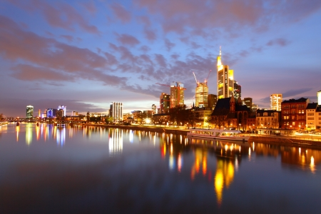 Panorama of Frankfurt am Mine at night, Germany photo