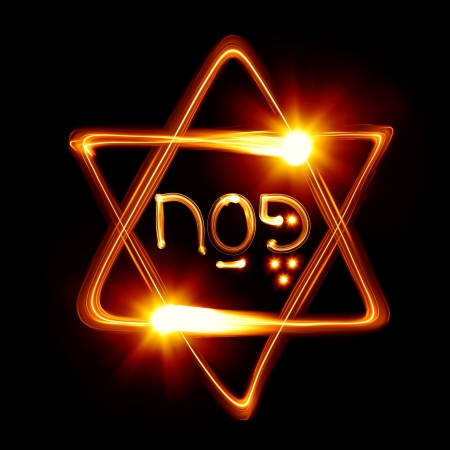 Passover - Star of David created by light photo