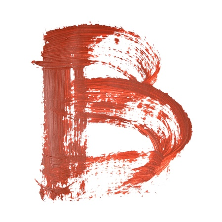 graffito: B - Red letters over white background
