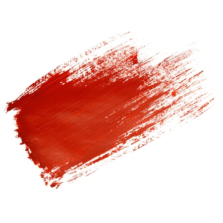 Red brush stroke isolated on the white background photo