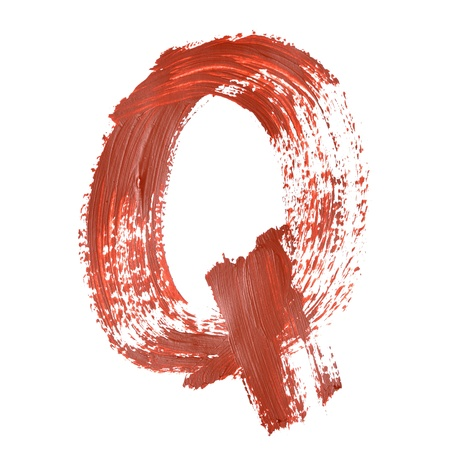 fount: Q - Red letters over white background