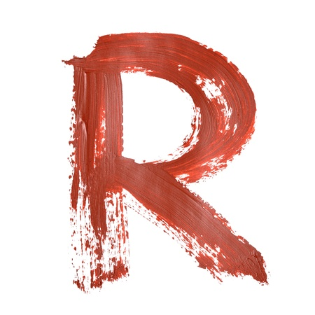 graffito: R - Red letters over white background