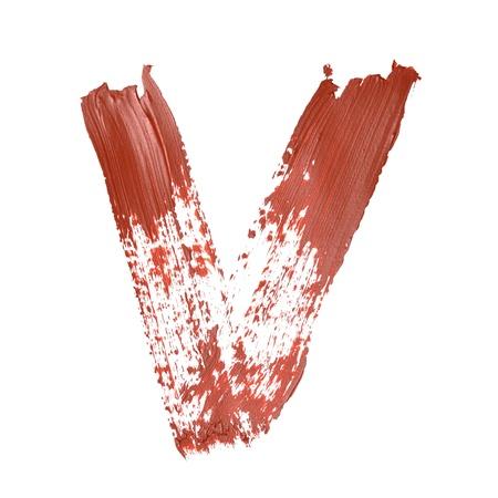 v alphabet: V - Red letters over white background Stock Photo