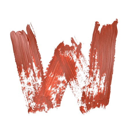 fount: W - Red letters over white background Stock Photo