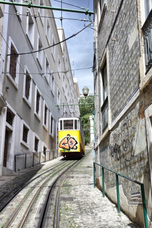 elevador: Funicular in Lisbon, Portugal  Elevador do Lavra   Stock Photo