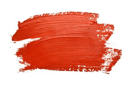 白い背景で隔離赤いブラシ ストローク