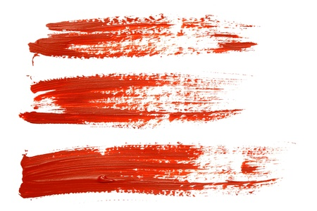 Set of red brush strokes photo